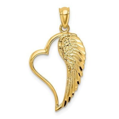 14k Angel Wing In Heart Pendant
