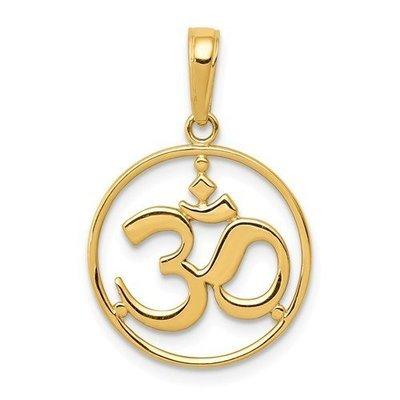 14k Cut-Out Round Frame Yoga Om Symbol Pendant