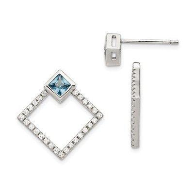 Sterling Silver RH-Plated CZ And Spinel Dangle Jackets With 5mm Earrings