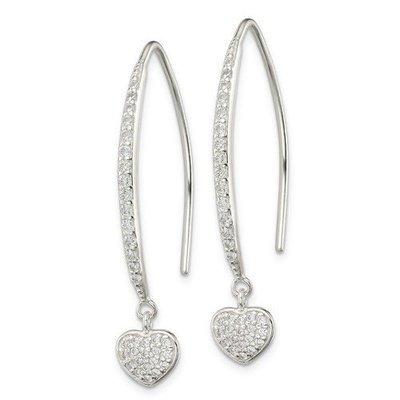 Sterling Silver CZ Heart Threader Earrings