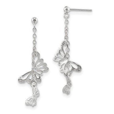 Sterling Silver Rhodium-Plated Polished Butterfly Post Dangle Earrings