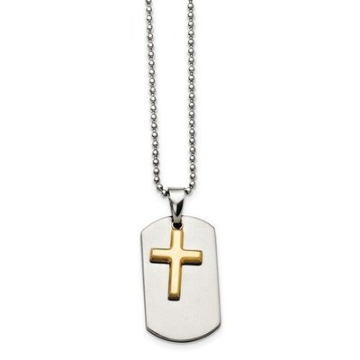 Stainless Steel Polished Dog Tag Yellow IP-Plated Brushed Cross Necklace