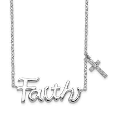 Sterling Silver Faith With CZ Cross Charm Necklace