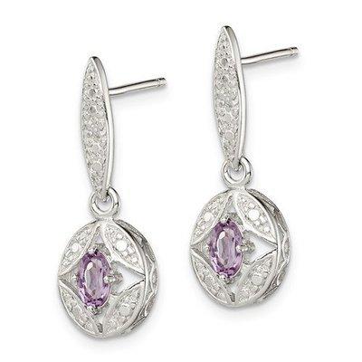 Sterling Silver Amethyst Diamond Post Dangle Earrings