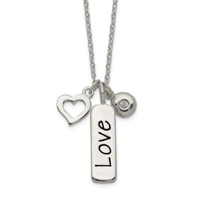 Sterling Silver Polished CZ Love Heart Charm With 1 Inch Ext Necklace
