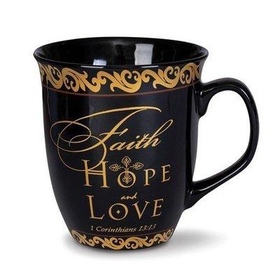 Ceramic Stone Faith Hope Love 16 Oz. Mug