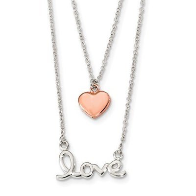 Sterling Silver Rose-Tone Love And Heart 18in Necklace