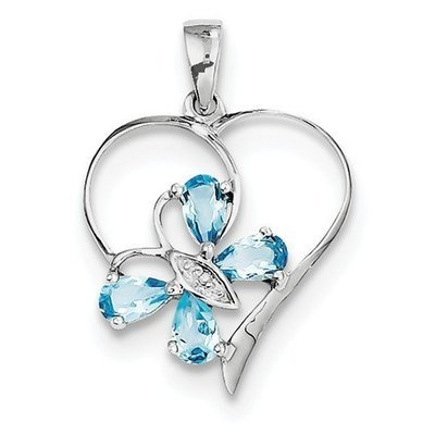 Sterling Silver Rhodium SW Blue Topaz And Diamond Butterfly Heart Pendant