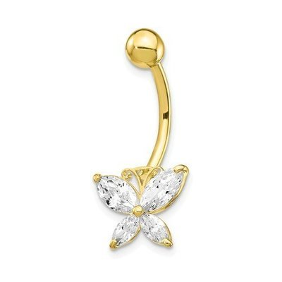10k With Large CZ Butterfly Belly Dangle