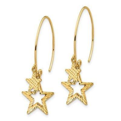 14k Diamond-Cut Star Dangle Earrings