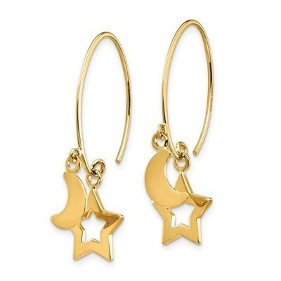 14k Polished Star And Crescent Moon Dangle Earrings