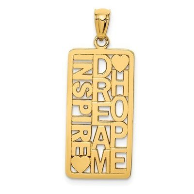 14k Polished Inspire, Dream, Hope Rectangular Pendant