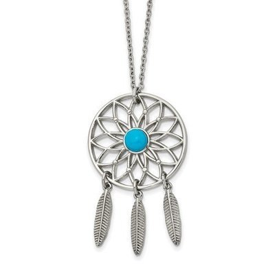 Stainless Steel Polished Imit. Turquoise DreamCatcher