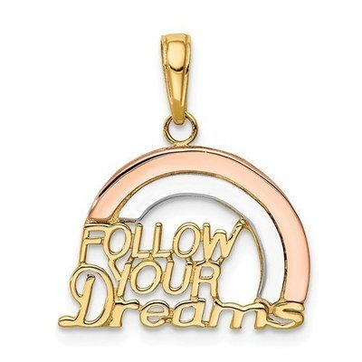 14k Yellow And Rose Gold Follow Your Dreams Rainbow Pendant
