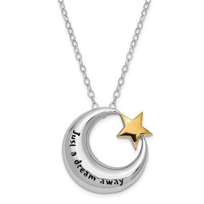 Sterling Silver Antiqued Gold-Tone Accent Just A Dream Away 18in. Necklace