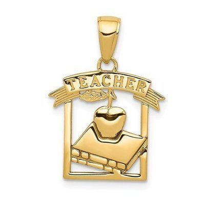 14k Polished Flat-Backed Teacher Frame Pendant