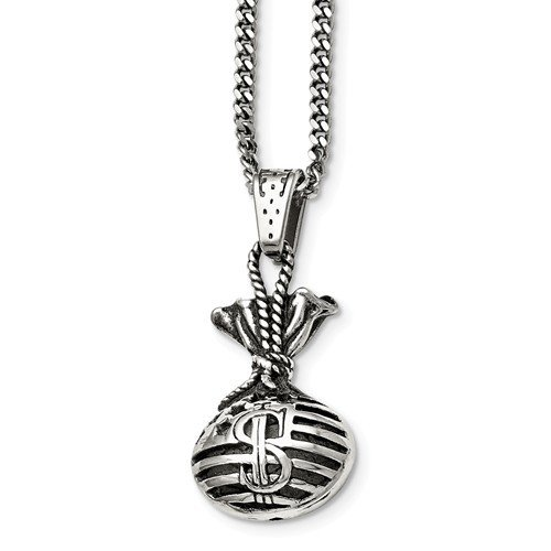 Stainless Steel Polished And Antiqued Money Bag Necklace