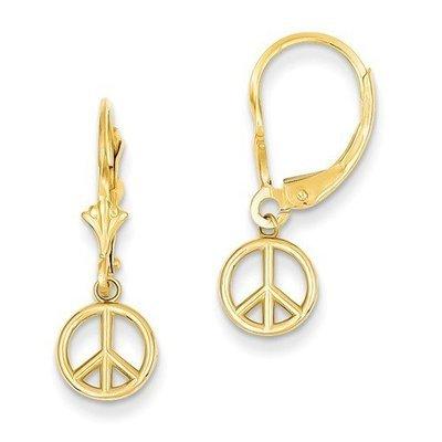 14k Polished Peace Sign Dangle Leverback Earrings