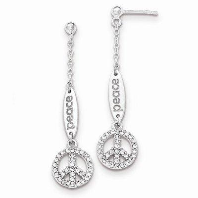 Sterling Silver Polished CZ Peace Dangle Post Earrings