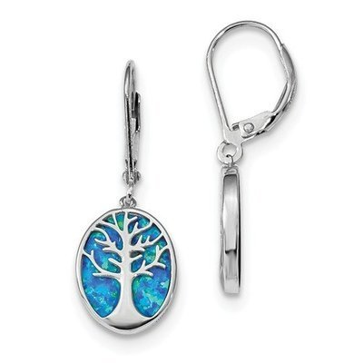 Sterling Silver Rhodium-Plated Created Opal Tree Of Life Leverback Earrings