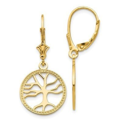 14k Gold Polished Tree Of Life In Round Frame Leverback Earrings