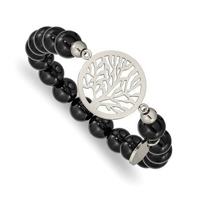 Stainless Steel Polished Tree Of Life Black Agate Beaded Stretch Bracelet