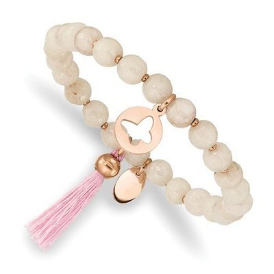Stainless Steel Rose IP Butterfly Pink Agate Beaded Stretch Bracelet