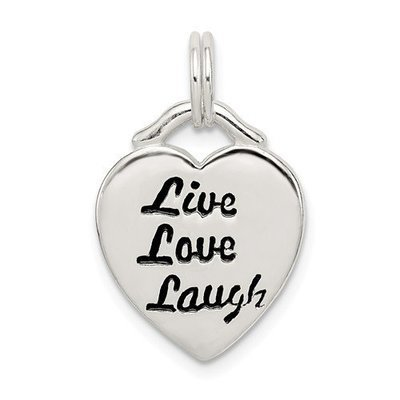 Sterling Silver LIVE LAUGH LOVE Heart Pendant