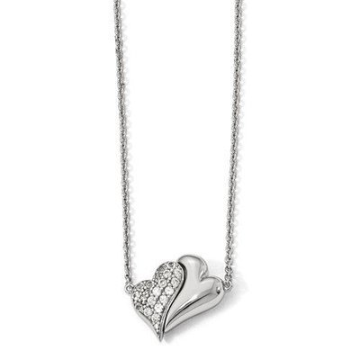 Sterling Silver Polished With Sapphire Magnetic Double Heart Adjustable Neckla