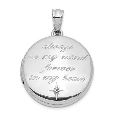 Sterling Silver Diamond Always On My Mind Round Locket