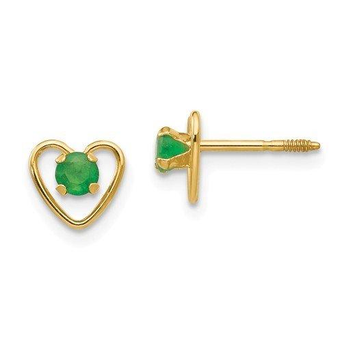 14k Madi K 3mm Emerald Birthstone Heart Earrings
