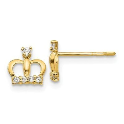 14k Madi K CZ Crown Post Earrings