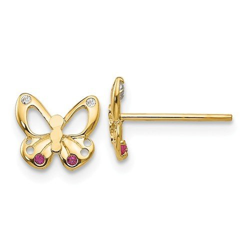 14k Madi K CZ Children's Butterfly Post Earrings