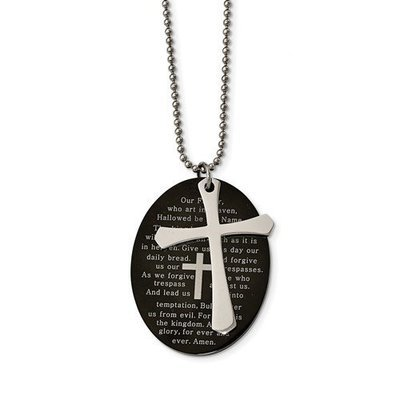 Stainless Steel Polished Blk IP Lord's Prayer Oval Cross Necklace