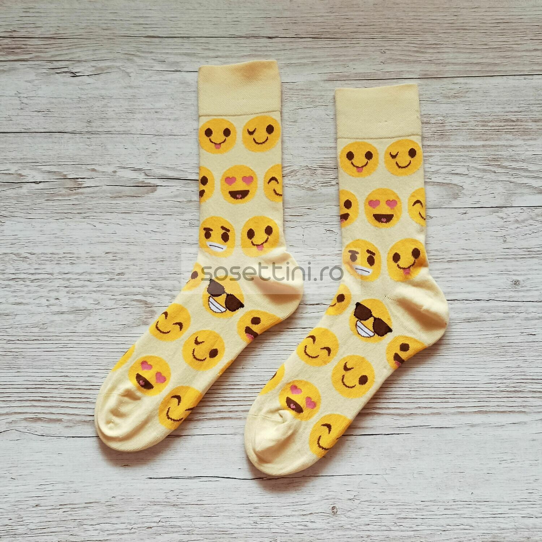 Sosete lungi colorate cu model emoticoane, sosete vesele emoticoane happy socks