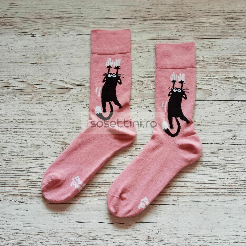 Sosete lungi colorate cu model pisici, sosete vesele pisici happy socks