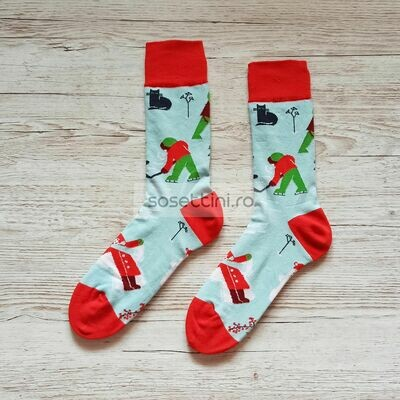Sosete lungi colorate cu model hochei, sosete vesele hochei happy socks