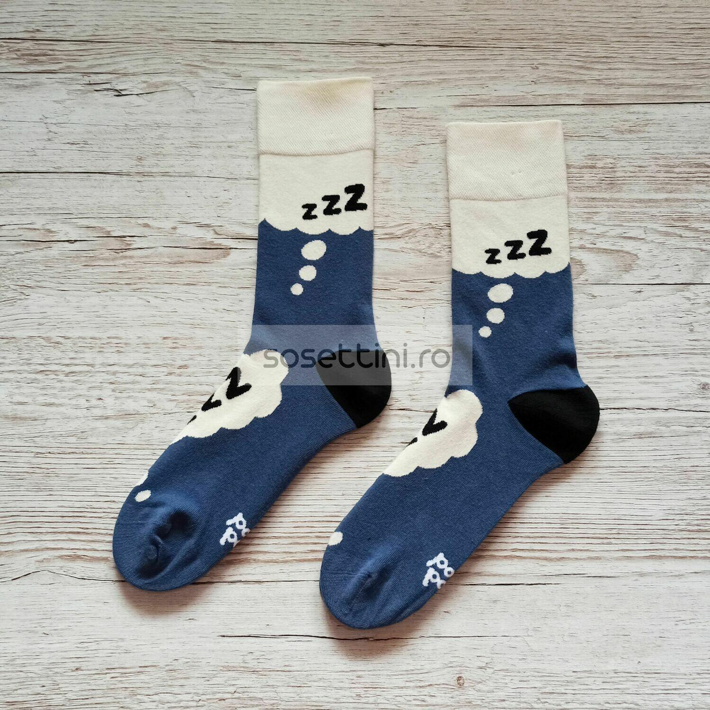 Sosete lungi colorate cu model somnorici, sosete vesele somnorici happy socks