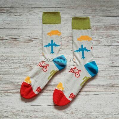 Sosete lungi colorate cu model calatorie, sosete vesele calatorie happy socks