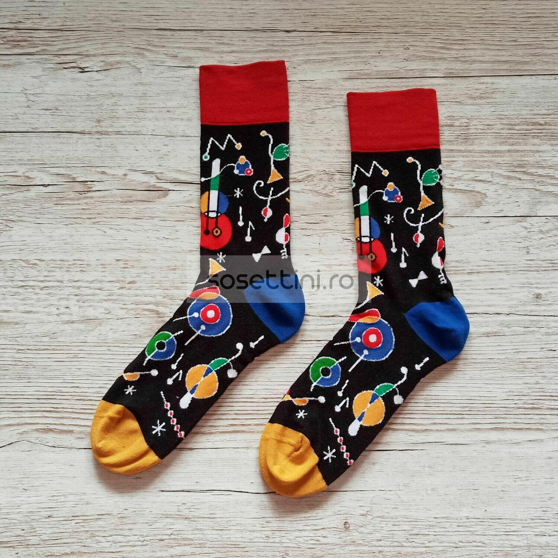 Sosete lungi colorate cu model muzica, sosete vesele muzica happy socks