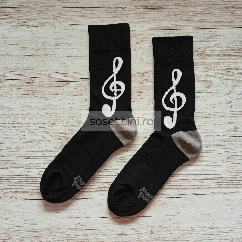 Sosete lungi colorate cu model cheia sol, sosete vesele cheia sol happy socks