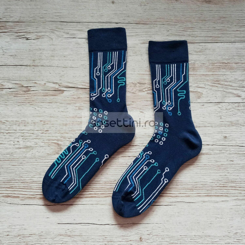 Sosete lungi colorate cu model circuite, sosete vesele circuite happy socks