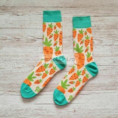 Sosete lungi colorate cu model morcovi, sosete vesele morcovi happy socks