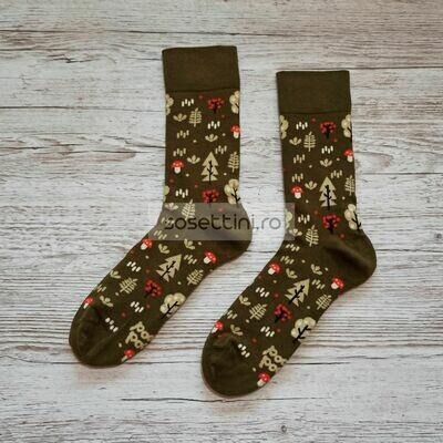 Sosete lungi colorate cu model natura, sosete vesele natura happy socks