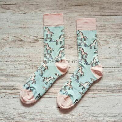 Sosete lungi colorate cu model unicorn, sosete vesele unicorn happy socks