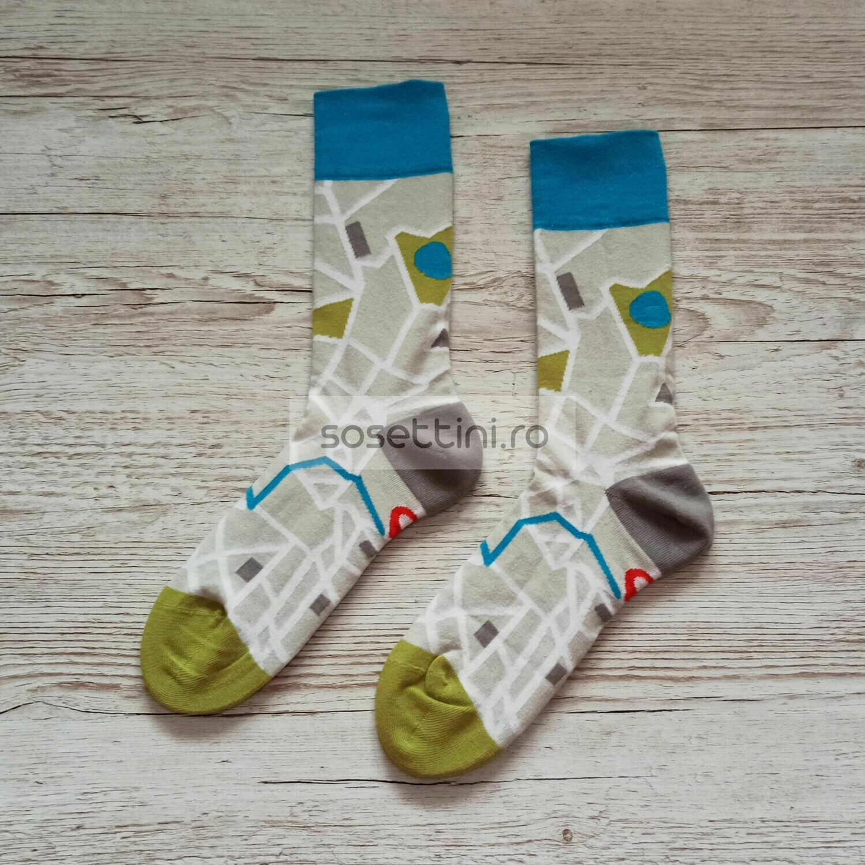Sosete lungi colorate cu model harta, sosete vesele harta happy socks