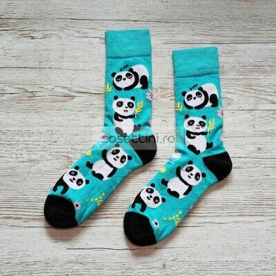 Sosete lungi colorate cu model ursuleti panda, sosete vesele ursuleti panda happy socks