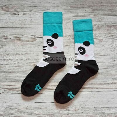 Sosete lungi colorate cu model ursulet panda, sosete vesele ursulet panda happy socks
