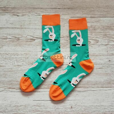 Sosete lungi colorate cu model iepuras, sosete vesele iepuras happy socks