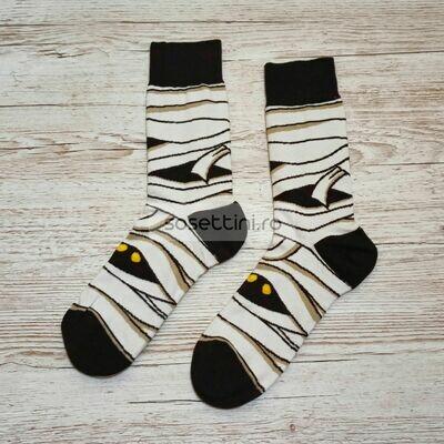 Sosete lungi colorate cu model mumie, sosete vesele mumie happy socks